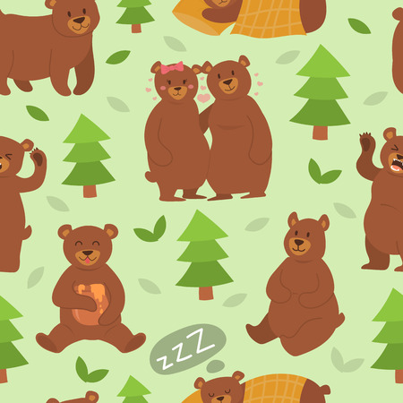 Cartoon bear character different pose vector seamless pattern Vectores