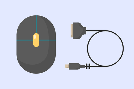 corded: Computer mouse icon flat computer design business technology modern instrument cursor work reflection and scrolling equipment vector illustration. Illustration