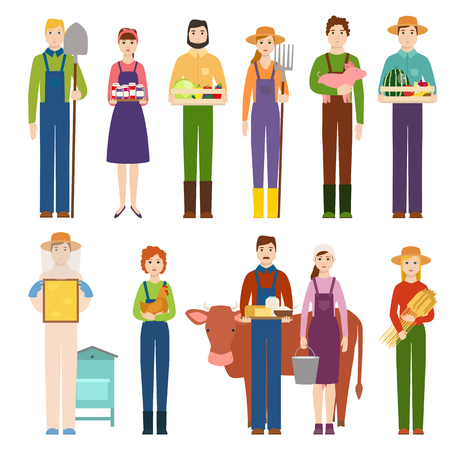 Funny farmer character isolated cartoon man agriculture person and happy rancher profession rural farming gardener worker people vector illustration. Vetores