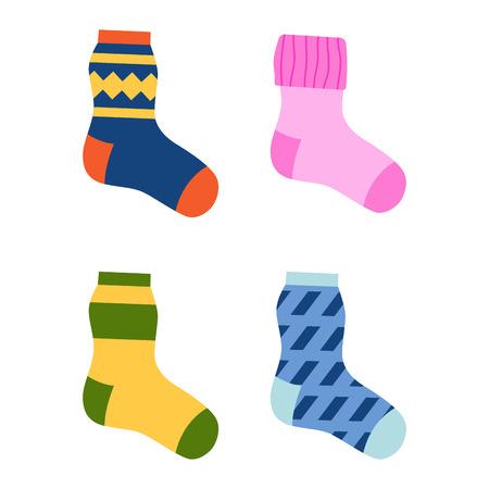 Flaches Design bunte Socken-Set Vektor-Illustration. Standard-Bild - 73044026