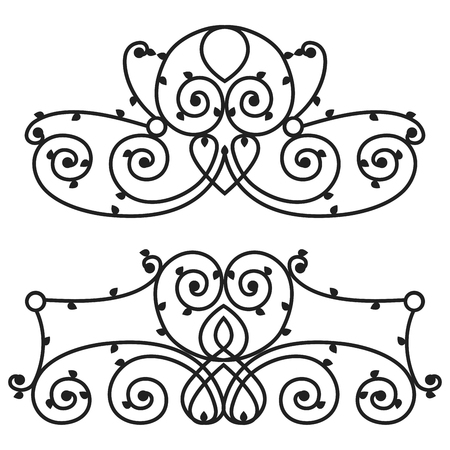 furnish: Decorative iron metal fence elegance retro calligraphic style swirl vintage border frame design decorative sign and antique decoration ornament vector illustration. Illustration