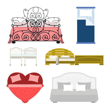Exclusive sleeping furniture design bedroom with aerial view bed and interior room comfortable home relaxation apartment decor vector illustration.