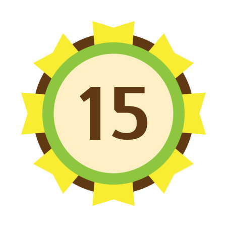 Birthday badge fifteenth banner design flat celebration emblem anniversary card date and paper sticker invitation with number 10 day for typography vector illustration symbol. Illustration