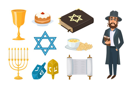 Judaism church traditional symbols isolated hanukkah religious design and synagogue passover hebrew character torah menorah holiday jew vector illustration.