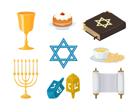 Judaism church traditional symbols icons set isolated hanukkah religious design and synagogue passover torah menorah holiday jew vector illustration. Imagens - 72950107