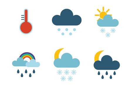 rainbow umbrella: Set of climate forecast weather icons vector.