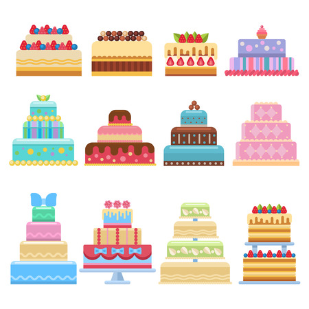 indulgence: Wedding cake pie sweets dessert bakery flat simple style isolated on white vector illustration.