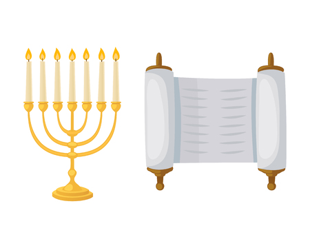 Golden jew menorah with candles hebrew religion tradition decoration flame and candelabrum hanukkah orthodox judaism holiday torah scroll vector illustration.