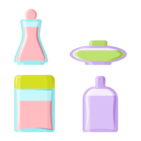 Perfume glamour fashionable beautiful cosmetic bottle and france shiny female packaging tube product female fragrance vector illustration.