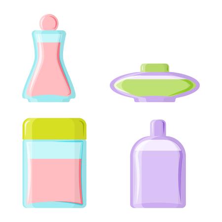 Perfume glamour moda bella botella de cosméticos y Francia fría femenina de embalaje de productos de tubo fragancia femenina ilustración vectorial.