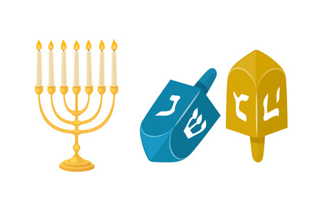 Golden jew menorah with candles hebrew religion tradition decoration flame and candelabrum hanukkah orthodox judaism holiday vector illustration. Illustration