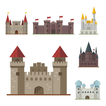 fable: Cartoon fairy tale castle tower icon cute architecture fantasy house fairytale medieval and princess stronghold design fable isolated vector illustration.