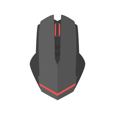 corded: Computer mouse icon vector scrolling equipment.