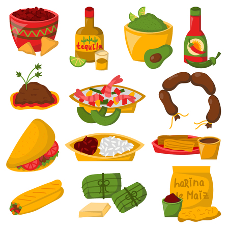 Mexican traditional food with meat avocado tequila corn isolated and spicy pepper salsa lunch sauce cuisine vector illustration Иллюстрация