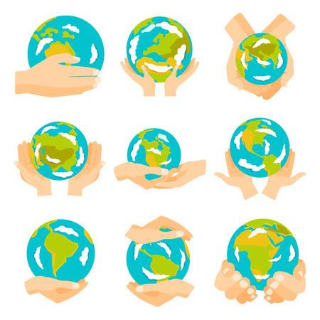 Globe earth in hand icon vector illustration.