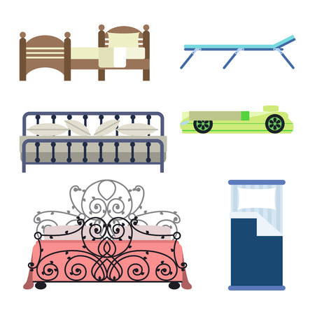 bunk bed: Exclusive sleeping furniture design bedroom with aerial view bed and interior room comfortable home relaxation apartment decor vector illustration.