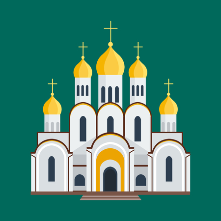 Cathedral orthodox churche temple building landmark tourism world religions and famous structure traditional city ancient old tower vector illustration. Stock Photo