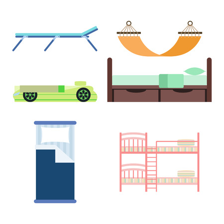 literas: Exclusive sleeping furniture design bedroom with aerial view bed and interior room comfortable home relaxation apartment decor vector illustration.