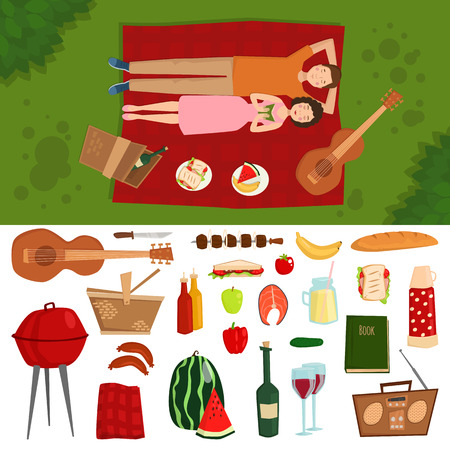 fire icon: Top view of couple in love lying on picnic plaid barbecue outdoor icons and romantic date people cooking summer food character vector illustration.