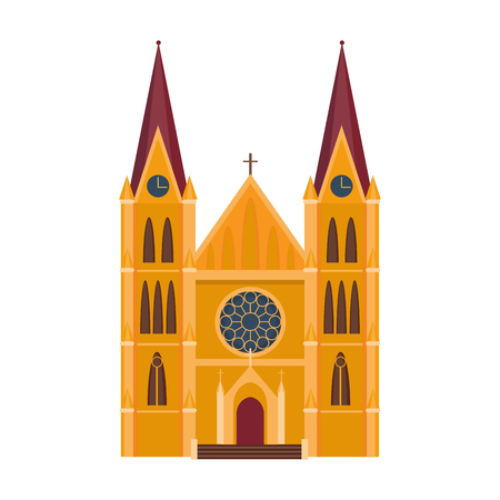 Cathedral catholic church temple building landmark tourism world religions. Illustration