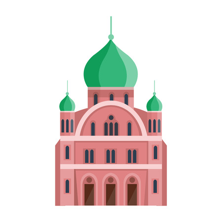 place of worship: Cathedral orthodox church temple building landmark tourism world religions. Illustration