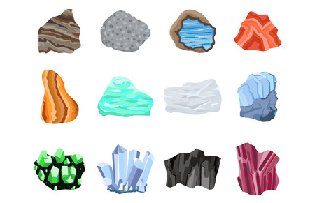 Collection of semi precious gemstones vector stones and mineral colorful shiny jewelry material agate geology crystal isolated on white background.