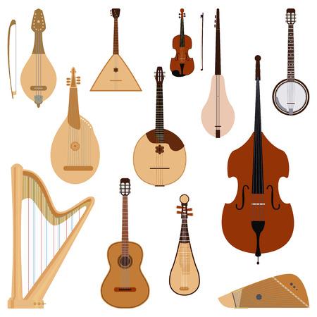 Conjunto de instrumentos musicales soñados cuerdas herramienta de sonido de orquesta clásica arte y sinfonía acústica de cuerdas violín ilustración de vector de equipo de madera