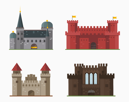 Cartoon fairy tale castle tower icon cute architecture fantasy house fairytale medieval and princess stronghold design fable isolated vector illustration. Zdjęcie Seryjne - 73548535