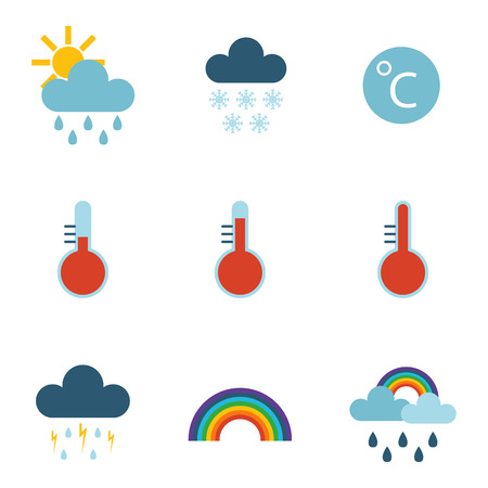 Set of climate forecast weather icons vector.