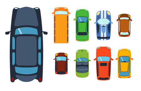 Overhead top view on colorful car toys different pickup automobile transport and collection wheel transportation design vector illustration.