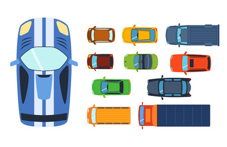 Overhead top view on colorful car toys different pickup automobile transport.