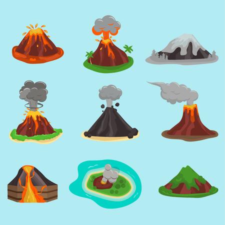Volcano set vector illustration. Vettoriali