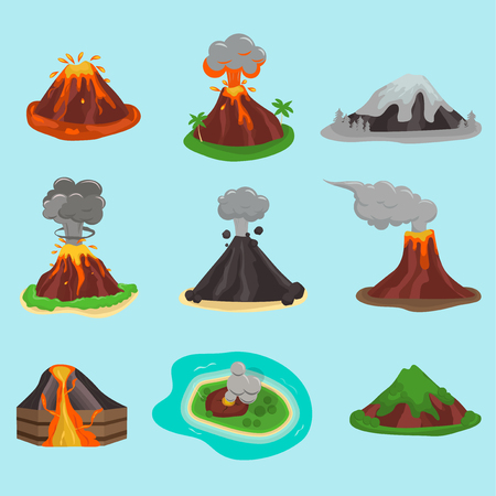 Volcano set vector illustration. Stock Illustratie
