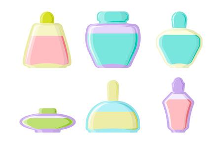 Perfume glamour fashionable beautiful cosmetic bottle and france shiny female packaging tube product female fragrance vector illustration.