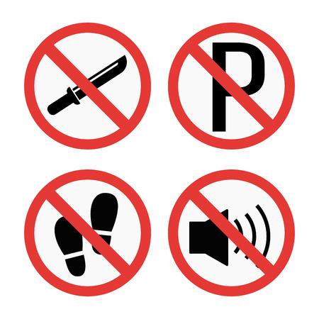 禁止標識は、安全情報のベクトル図を設定します。 写真素材 - 73812627
