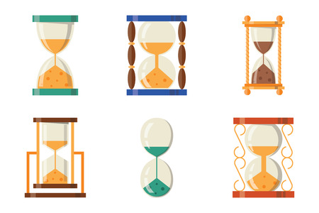 Sandglass icon time flat design history second old object and sand clock hourglass timer hour minute watch countdown flow measure vector illustration. Stock Photo