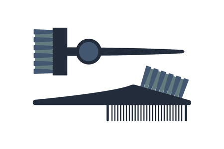 barbershop: Fashion professional comb icon style hairdresser care equipment and barbershop flat hairbrush grooming curl shape vector illustration. Stock Photo