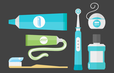 Flat health care dentist chemical color medical glue tool healthcare system concept and medicine toothpaste hygiene stomatology vector illustration.