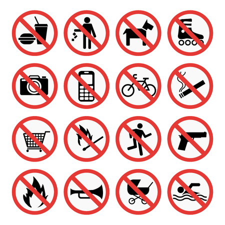 Prohibition signs set safety information vector illustration. Vettoriali