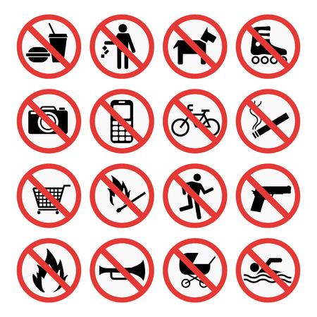Prohibition signs set safety information vector illustration. Illustration