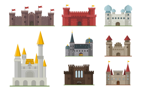 citadel: Cartoon fairy tale castle tower icon cute architecture fantasy house fairytale medieval and princess stronghold design fable isolated vector illustration.