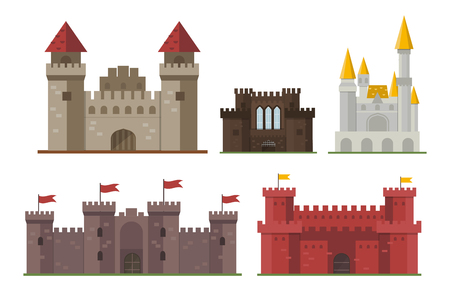 Cartoon fairy tale castle tower icon cute architecture fantasy house fairytale medieval and princess stronghold design fable isolated vector illustration. Stock Vector - 73825226