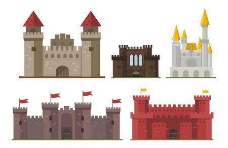 Cartoon Märchenschloss Turm Icon cute Architektur Fantasy Haus Märchen mittelalterlichen und Prinzessin Festung Design Fabel isoliert Vektor-Illustration. Standard-Bild - 73825226