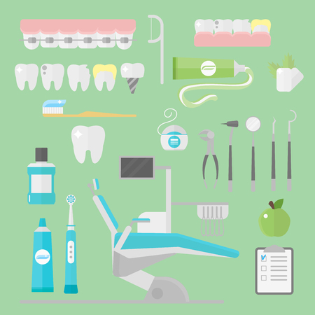 Flat health care dentist symbols research medical tools healthcare system concept and medicine instrument hygiene stomatology engineering vector illustration.