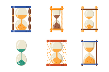 trickle: Sandglass icon time flat design history second old object and sand clock hourglass timer hour minute watch countdown flow measure vector illustration. Illustration