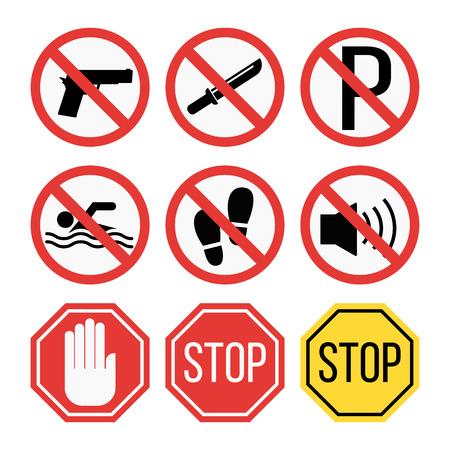 禁止標識は、安全情報のベクトル図を設定します。 写真素材 - 73825262