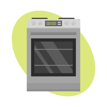 gas stove: Stainless gas cooker with oven industrial metallic cuisine steel kitchenware and household utensil cook appliance vector illustration.