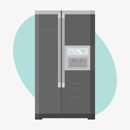 Stainless refrigerator with fashion industrial metallic cuisine kitchenware and household utensil fridge appliance food freezer vector illustration.