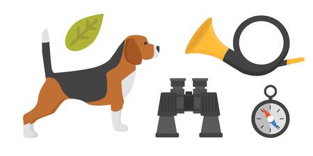Afficher le chien de race beagle sur fond blanc chasseur rapide animal belle terrier sympathique adorable pedigree doggy vector illustration. Banque d'images - 74123495