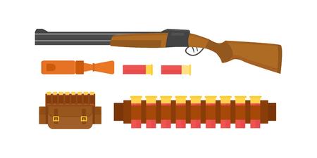 ヴィンテージ ハンティングのセットの記号キャンプ オブジェクト デザイン要素フラット スタイル ハンター武器と他の服が分離されたワイルド フォレスト ベクトル イラスト。 写真素材 - 74123520
